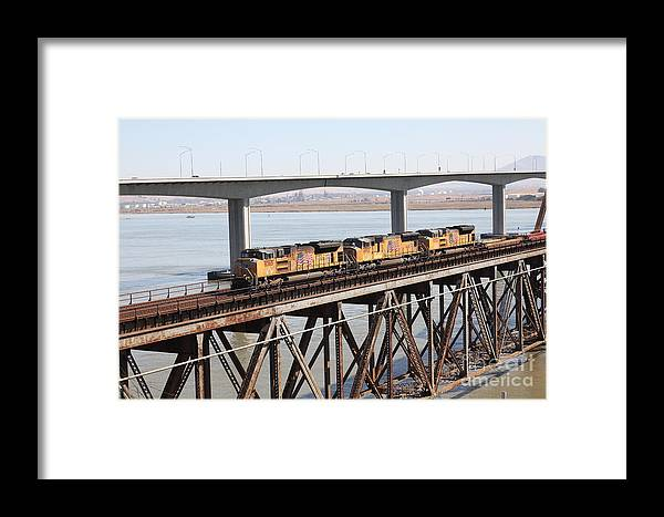 Transportation Framed Print featuring the photograph Union Pacific Locomotive Trains Riding Atop The Old Benicia-martinez Train Bridge . 5d18851 by Wingsdomain Art and Photography