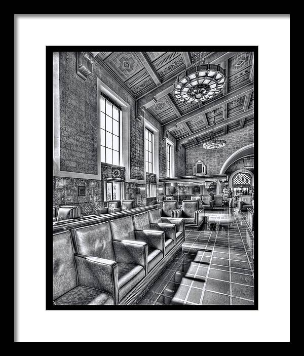 Framed Print featuring the digital art Union Station L.a. Seats 1 by Martin Fine