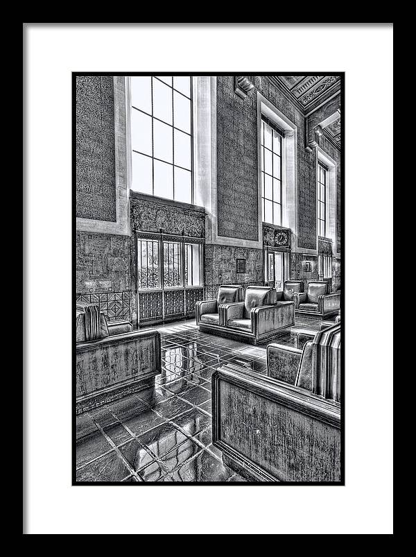 Framed Print featuring the digital art Union Station L.a. Seats 2 by Martin Fine