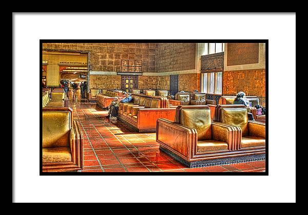 Framed Print featuring the digital art Union Station L.a. Waiting Color by Martin Fine
