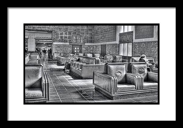 Framed Print featuring the digital art Union Station L.a. Waiting by Martin Fine