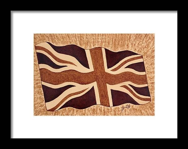British Flag Framed Print featuring the painting United Kingdom Flag Coffee Painting by Georgeta Blanaru