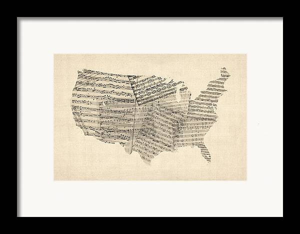 United States Map Framed Print featuring the digital art United States Old Sheet Music Map by Michael Tompsett