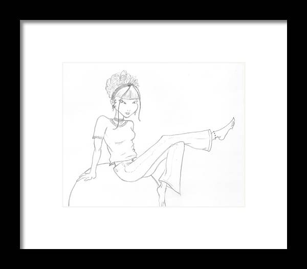 Girl Framed Print featuring the drawing Unnamed Girl by Kaylee Axberg