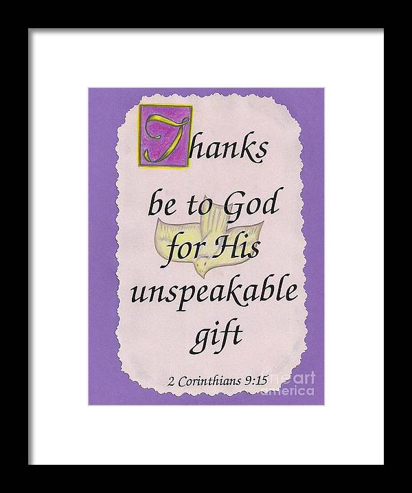 2 Corinthians 9:15 Framed Print featuring the painting Unspeakable Gift by Jamey Balester