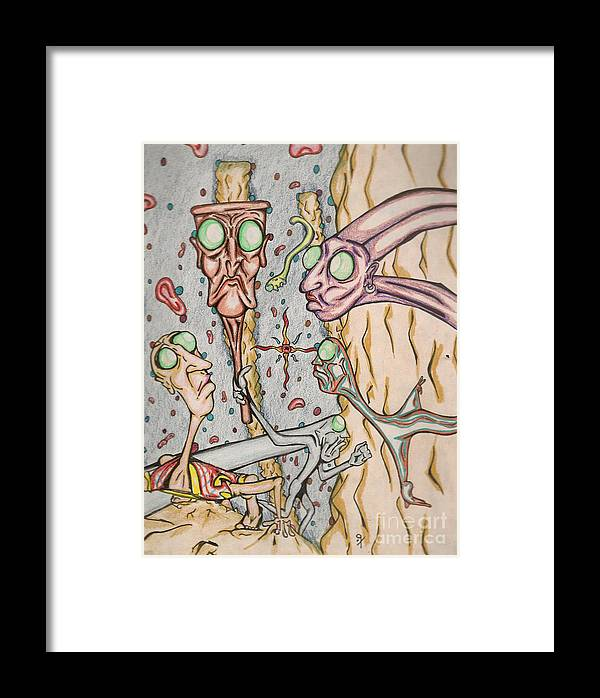Surrealism Framed Print featuring the drawing Untitled 1997 by Gustavo Ramirez