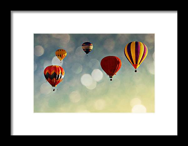 Hot Air Balloons Framed Print featuring the photograph Up There by Stacey Granger