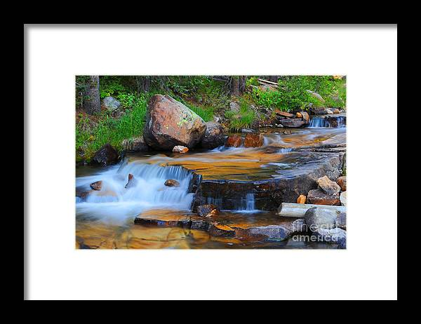 Waterfall Framed Print featuring the photograph Upper Provo River Cascade by Dennis Hammer