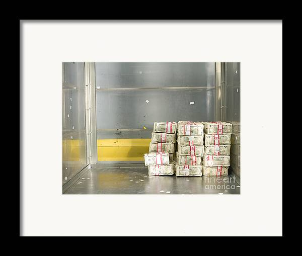 Architectural Framed Print featuring the photograph Us Dollar Bills In A Bank Cart by Adam Crowley