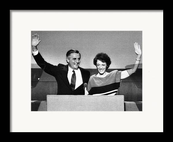 1980s Framed Print featuring the photograph Us Elections. Democratic Presidential by Everett