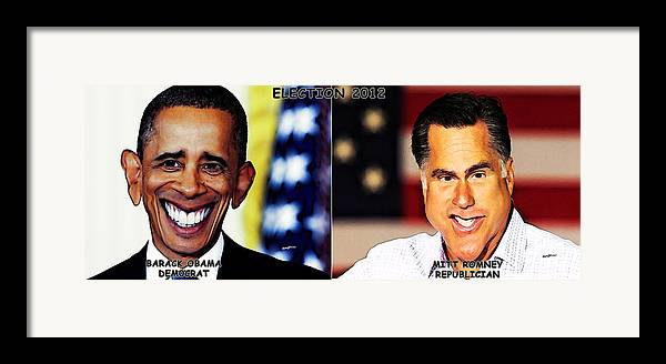 Caricatures Framed Print featuring the digital art Usaelections 2012 by Anthony Caruso