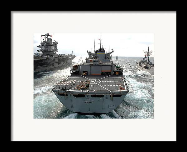Color Image Framed Print featuring the photograph Usns Supply Conducts A Replenishment by Stocktrek Images