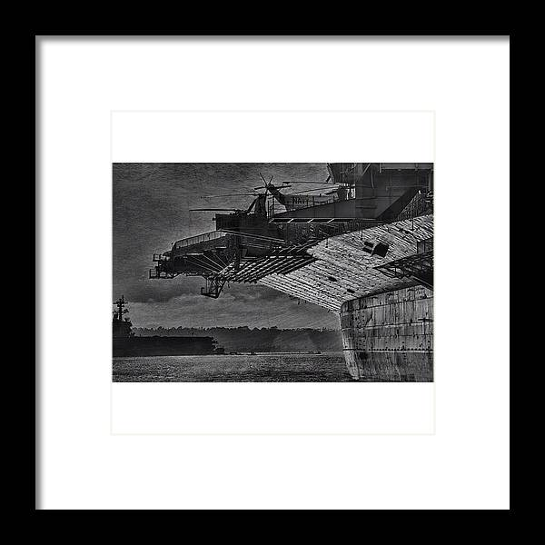 Framed Print featuring the photograph Uss Midway by Larry Marshall