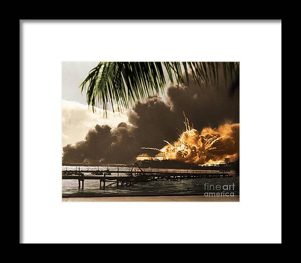 History Framed Print featuring the photograph U S S Shaw Pearl Harbor December 7 1941 by Photo Researchers