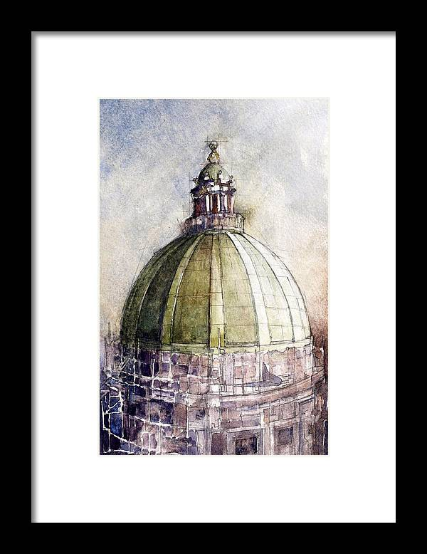 Capitol Buildings Framed Print featuring the painting Utah Capitol Reconstruction by David Carlson