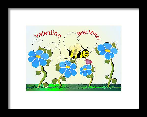 Valentines Framed Print featuring the digital art Valentine Bee Mine by Susan Kinney