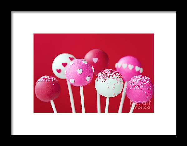 Cake Pops Framed Print featuring the photograph Valentine Cake Pops by Ruth Black