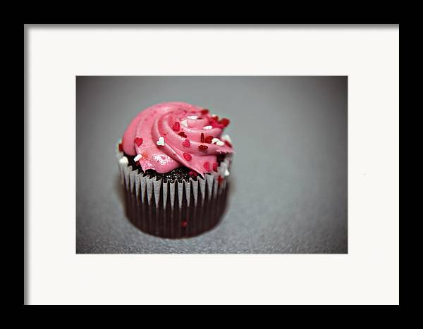Against Framed Print featuring the photograph Valentines Cupcake by Malania Hammer