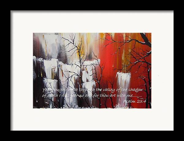 Psalm 23:4 Poster Framed Print featuring the painting Valley Of Shadows Poster by Dan Whittemore