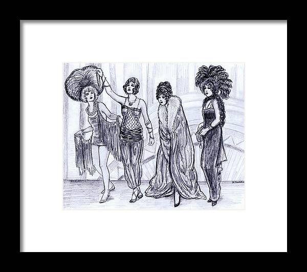 Nostalgia Framed Print featuring the drawing Vamps by Mel Thompson