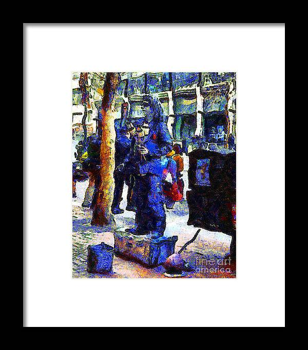 San Francisco Framed Print featuring the photograph Van Gogh Is Captivated By A San Francisco Street Performer . 7d7246 by Wingsdomain Art and Photography