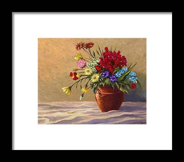 Flowers Framed Print featuring the digital art Vase Of Flowers by Vince Hewitt
