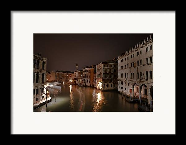 Architecture Framed Print featuring the photograph Venice By Night by Joana Kruse