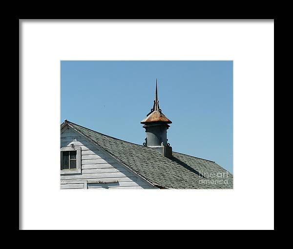 White Barn Framed Print featuring the photograph Vent On Barn by Bobbylee Farrier