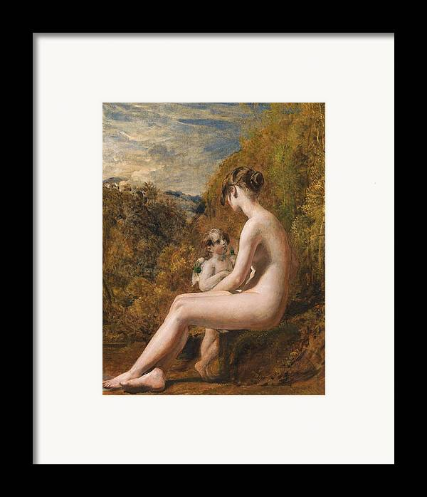 Venus And Cupid (oil On Millboard) Nude; Female; Landscape; Wings; Love; Seated; Full Length; Aphrodite; Talking; Conversation; Nude Framed Print featuring the painting Venus And Cupid by William Etty