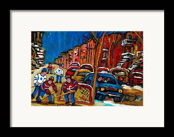 Streets Of Verdun Hockey Paintings By Montreal Artist Carole Spandau Framed Print featuring the painting Verdun Rowhouses With Hockey - Paintings Of Verdun Montreal Street Scenes In Winter by Carole Spandau