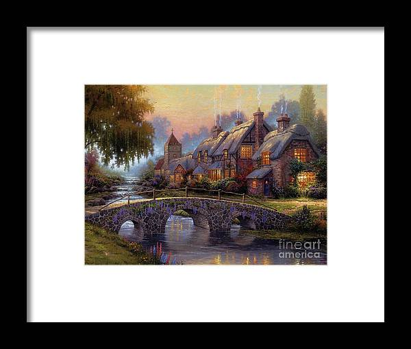 Landscape Framed Print featuring the painting Verona Bridge by Vishal Lakhani