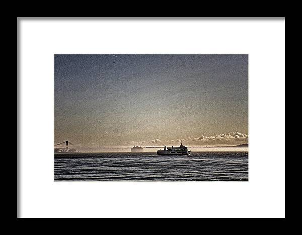 Verrazano Framed Print featuring the photograph Verrazano And The Boat by Alex AG