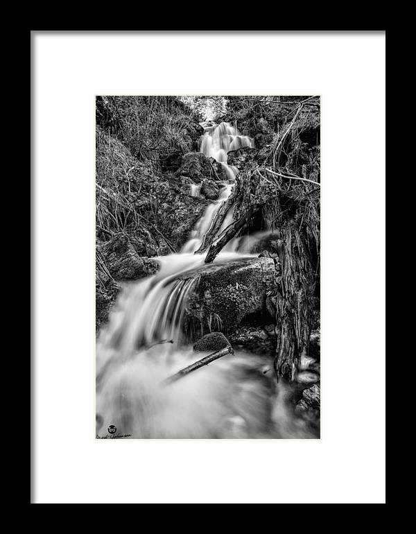 Black N White Framed Print featuring the photograph Vertical Falls Bw by Mitch Johanson