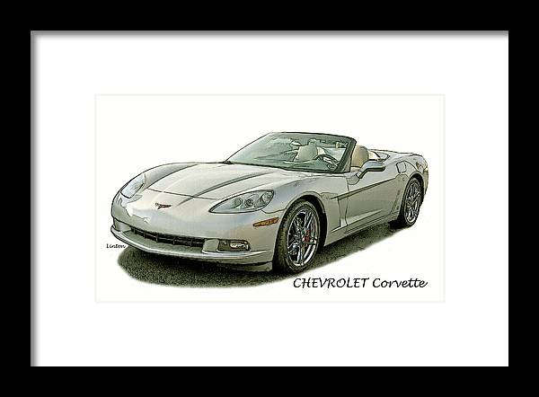 Chevrolet Corvette Framed Print featuring the digital art Vette by Larry Linton