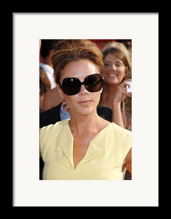 Arrivals - The 2008 Espy Awards Framed Print featuring the photograph Victoria Beckham At Arrivals by Everett