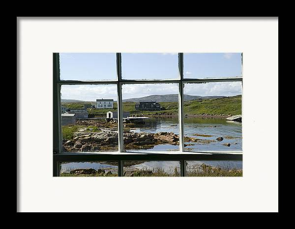 Color Image Framed Print featuring the photograph View Of A Harbor Through Window Panes by Pete Ryan