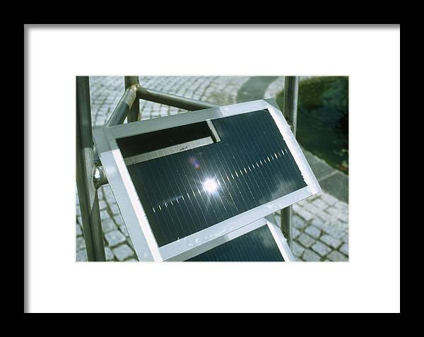 Solar Cell Framed Print featuring the photograph View Of An Amorphous Solar Cell by Volker Steger