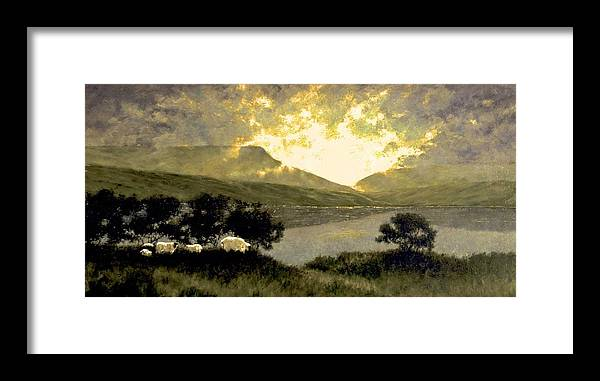 Oil Framed Print featuring the painting View of Ben Bulben by Jim Gola