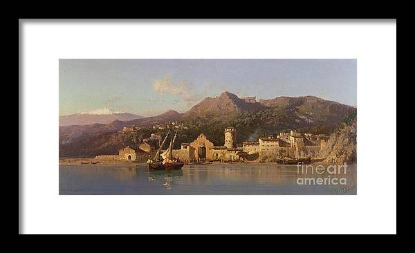 View Of Taormina Framed Print featuring the painting View Of Taormina Sicily by Alessandro la Volpe