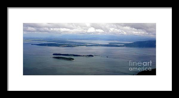 Mt. Constitution Framed Print featuring the photograph View Of The San Juan Islands From Mt. Constitution by Tanya Searcy