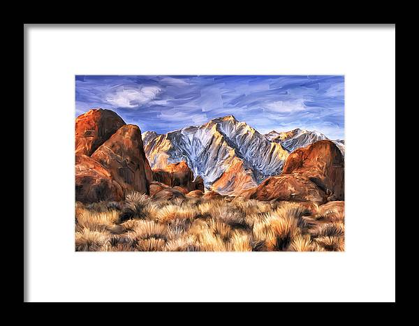 View Of The Sierras Framed Print featuring the painting View Of The Sierras by Dominic Piperata