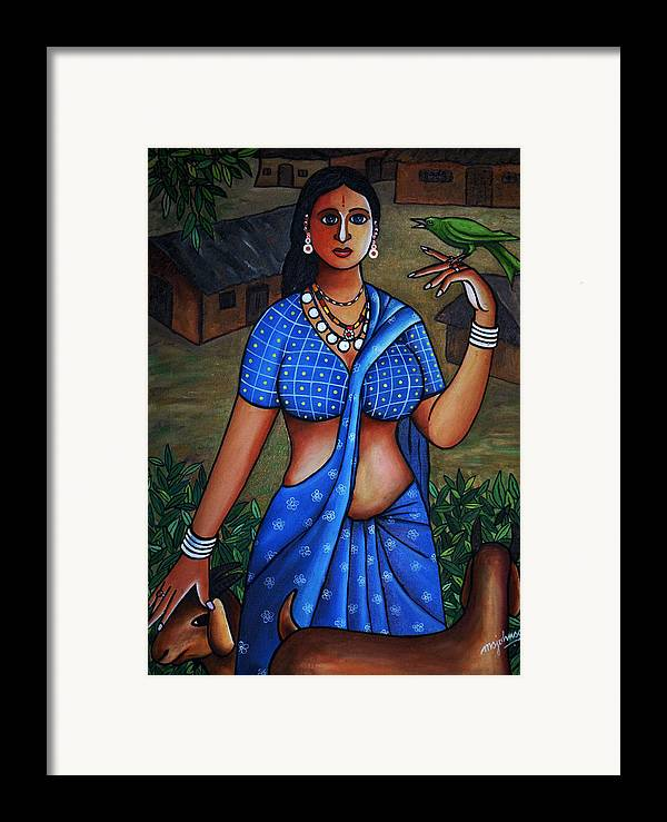 Girl Framed Print featuring the painting Village Girl by Johnson Moya