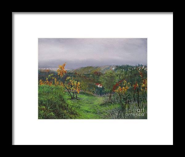 Vineyard Framed Print featuring the pastel Vineyard Path by Leah Wiedemer