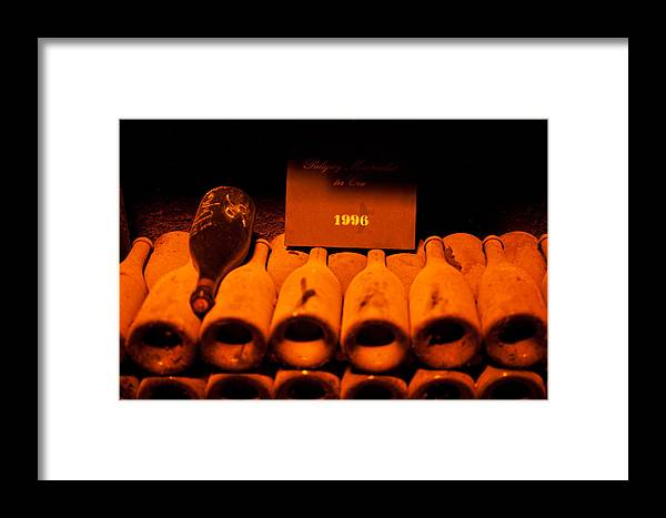 Wine Bottles Framed Print featuring the photograph Vintage 1996- Burgundy France by John Galbo