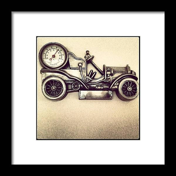 vintage #antique #old #car #grayscale Framed Print by Logan Mcpherson