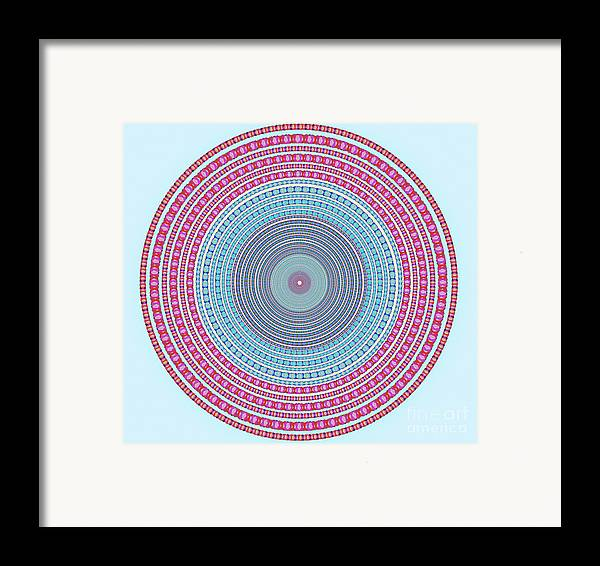 Abstract Framed Print featuring the digital art Vintage Color Circle by Atiketta Sangasaeng