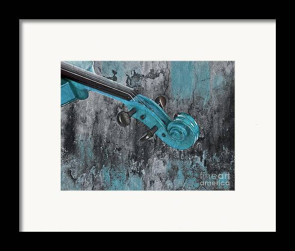 Violin Framed Print featuring the photograph Violinelle - Turquoise 04d2 by Variance Collections