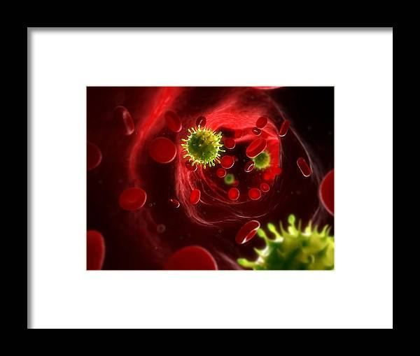 Artwork Framed Print featuring the photograph Viral Infection, Conceptual Artwork by Sciepro