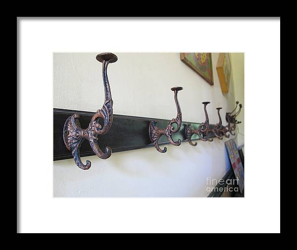 Coat Hook Framed Print featuring the photograph Waiting For Company by Arlene Carmel