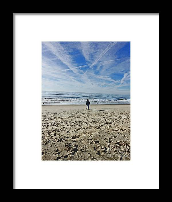 Oak Island Beach. Cpntrails Framed Print featuring the photograph Waiting for the Gulls by Beebe Barksdale-Bruner